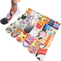 1Pc Hot 3D Printed Unisex Cute Low Cut Ankle Socks Multiple Colors Harajuku Style