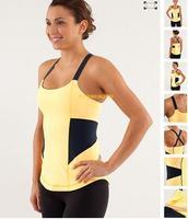 (short in size )Canada Brand Lulu Yoga Women tops  Patchwork Lycra Lady Sexy Yoga shirt original tag Sportswear Tops With Bra
