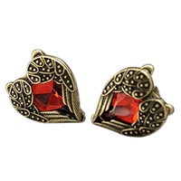 Vintage Angel's Wings Peach Heart Shaped Red Gem Inlay Ear Studs Earrings