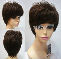 100% Human Hair Short Brown Elegant Hair Wigs machine cap free shipping