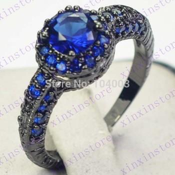 золото заполнены черный синий сапфир кольцо леди 10kt палец кольца для женщины ювелирные изделия размер 6/7/8/9/10 f2645-649 оптовая и розничная