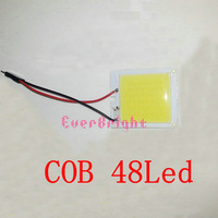 High Power 20PCS 40*35mm 48 SMD COB 48LED Car Festoon Dome Lamp Interior Bulb Ceiling Light with Festoon & T10 Adapter