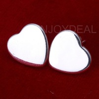 Fashion Simple Refacing Solid Silver Earrings Earstuds with Heart  Pattern  sweet earring lovely earring  0.99$ free shipping