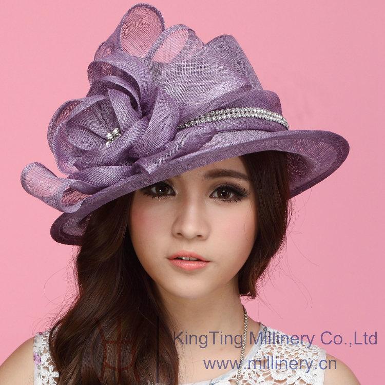 Luxury  Blue Wide Brim Fashion Dress Floppy Derby Sun Hat Women SKU158419