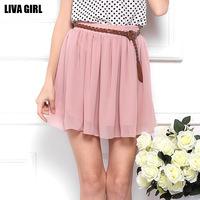 2014 spring and summer skirt high waist pleated double layer chiffon short skirts womens tutu skirts midi summer 2014 skirt