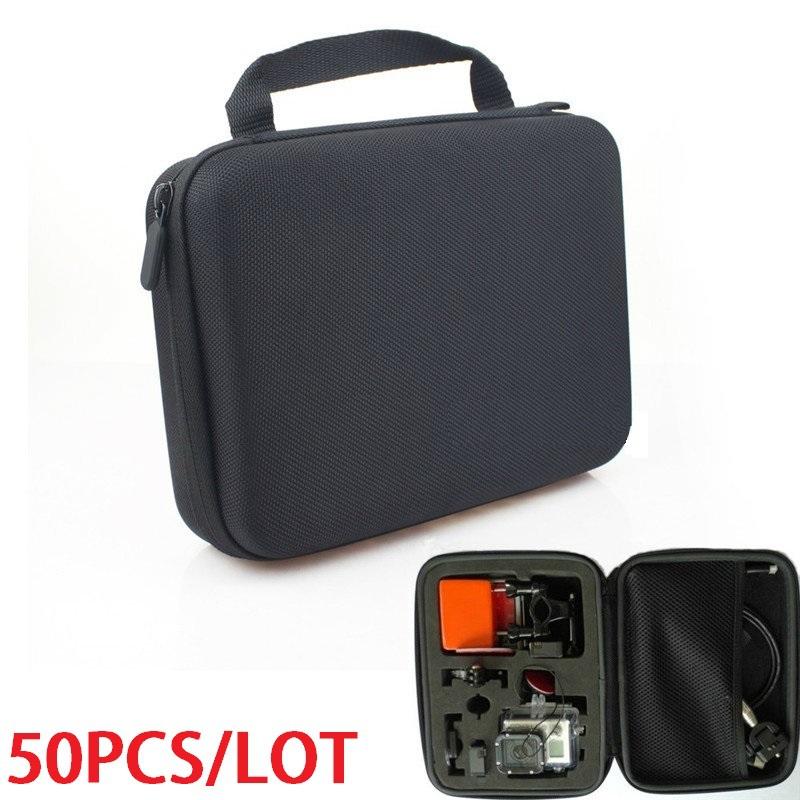50pcs/lot Hot New Portable EVA Travel Case Carrying Storage Bag For GoPro Hero 1 2 3 3+ Size M EVA Carry Hard Case(China (Mainland))