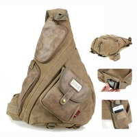 Brand large canvas with leather decoration single strap chest bags for men Vintage casual male sling backpack travel bag 3 color