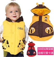 AHQ0205 Free Shipping Retail  Children  Fashion 2014 Vest Male Thickening Thermal Plus Padding Child Waistcoat  Vest Infant Vest
