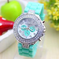 14 colors Fashion Silicone GENEVA Watch Crystal Silicone Jelly watch Women Rhinestone Watch 1piece/lot BW-SB-1000