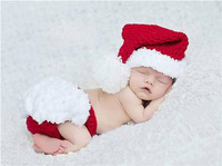 Retail Christmas Costume Hat&Diaper/Pants Set Newborn Baby Photo Props Toddler Santa Photography Props 1set  MZS-14032