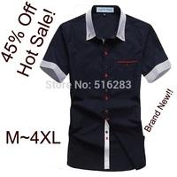 2014 Free Shipping Cotton Shirt Men,short Sleeve Slim Fit Stylish Casual Short Shirts Shoulder knot Top Quality drop shipping