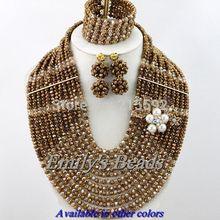 2014 Fashion Nigerian Wedding African Beads Jewelry Set 12 Layers Crystal Beads Jewelry Set Wholesale Free