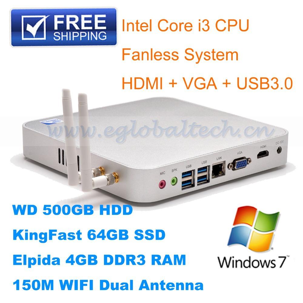 Low Cost Mini Computer for Kids 500GB HDD 64GB SSD 4GB RAM Intel Core i3 CPU Mini PC with WiFi and HDMI USB3.0 Linux Ubuntu PC(China (Mainland))