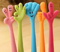 10 pcs/lot New Cute Cartoon finger  Ballpoint Pens Plastic Kawaii Ball pen Stationery Wholesale Gifts Free shipping