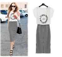 Summer Dress 2014 New Arrival Women's Bat Sleeve Print Shirt Dress Fashion  Brand summer long dress