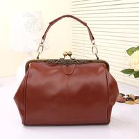 2014 New Fashion Women's Totes Retro Women Leather Handbags Brand Girl Messenger Bag Korean Style Women Shoulder Bags Metal Clip