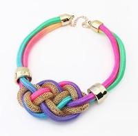 Fashion punk metal fluorescent color thick line hand woven temperament short necklace