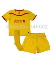 2015 Liverpool away yellow Kids youth Full Set (jersey short sock) ,14/15 Liverpool boys girls jersey Gerrard Suarez Custom Name