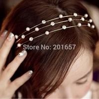 Wholesale and Retail fashion Europe three layer with pearl and gems fashion koea style hairband headband 12pcs/lot