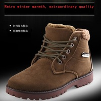 Free Shipping 2014 new men's winter snow boots Korean casual round personalized high-top lace shoes XD046