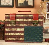 2014 New Fashion american  Flag Hasp PU Handbag For Women Retro Antique American Flag Fashionable Shoulder Bag .