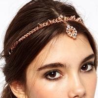New 2014 Fashion Vintage 6pcs Boho Rivet Drop Elastic Headband Head Chain Hair Bands Hair Accessories TS353