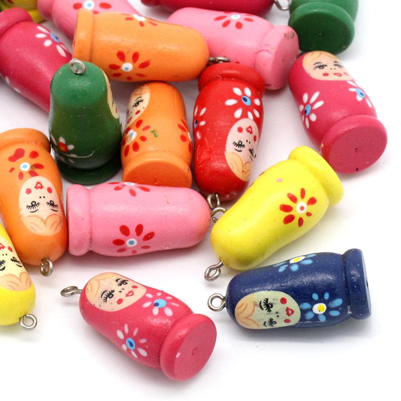 Free Shipping 20PCs Wood Charm Pendants Russian Doll Pattern Mixed 3.5cmx1.6cm For Jewelry Making(China (Mainland))