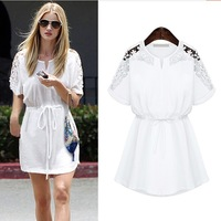 European And American Style Flower Laced Shoulder Casual Dress Ladies' Fashion Summer Batwing Sleeve Elastic Waist Cotton Dress