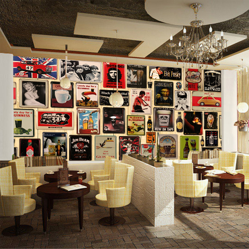 Retro wallpaper mural irish pub ktv lounge restaurant for Mural coffee shop