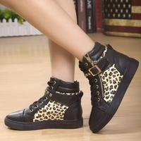 2014 Women Spring High Top Velcro Lace Up Leopard Zipper Casual Short Ankle Boots Autumn Flat Heel Leisure Sport Platform Shoes