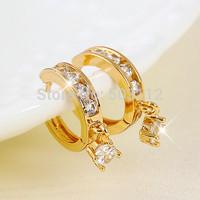 18k 18ct Yellow gold Filled GF CZ Crystal Shiny Round Cut Drop Earrings Women's Free shipping