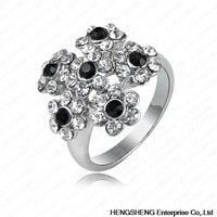 Top Fashion Gorgeous Flower Engagement Rings With Platinum Plated  Crystals Statement Jewelry Ri-HQ0163