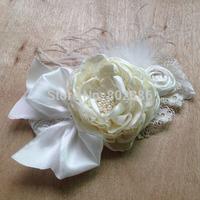 Free Shipping Ivory Ostrich Feather Big Heat Flower Dupioni Silk Rolled Flower Baby Headband Kids Hair Accessories