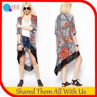New 2014 Women's Forked Tail Open Stitch Streetwear Tassel Long Kimono Cardigan Jackets Outerwear & Coats Free Shipping
