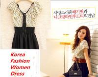 Free Drop shipping women summer dress 2014 Korea Cute women clothing Dot Natural Chiffon clothes Fashion summer dresses For Lady