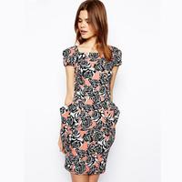 Fashion summer 2014 female fashion rose three-dimensional patchwork print short-sleeve slim hip slim waist pleated one-piece