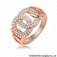 Free Shipping Classic Design Ring Real 18K Rose Gold Plated Genuine Austrian Crystal Engagement Rings Fashion Jeweslry Ri-HQ0143