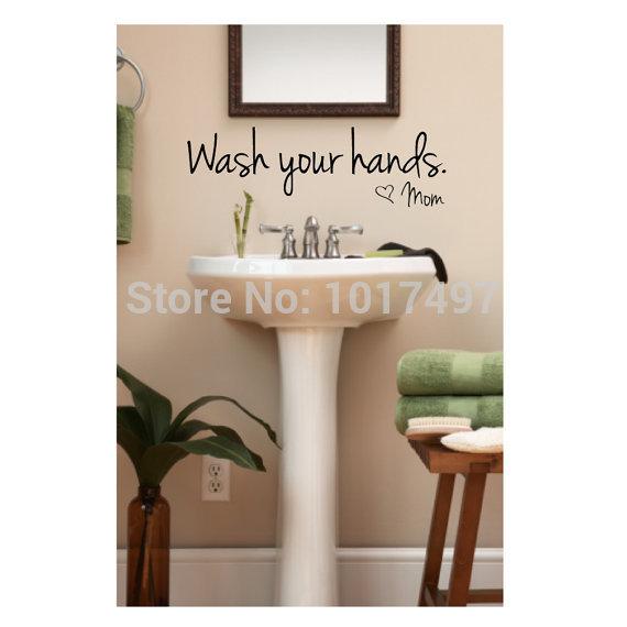 bathroom wall stickers -- Wash Your Hands Love Mom - Waterproof Art Vinyl decal bathroom wall decor ,F2071(China (Mainland))
