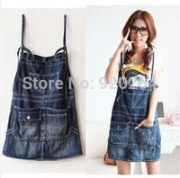2014 Spring Summer Women Casual Large Pockets Old Jeans Sling Skirt  Girls Wild Forest Loose Skirts C-BT110