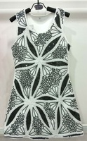 Wholesale New arrive Girl white with black lace Dress kid girl Leaf flower sequined dress 4 colors free shipping 4pcs/lot SG-1
