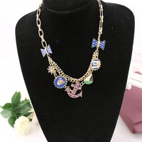 Fashion accessories bj navy style anchor necklace women's 131011 short design