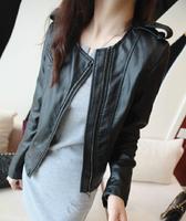 S-XXL 2014 Big Brand Fashion Women's Slim Motorcycle Leather Jacket Autumn Winter Women PU Leather Trench Coat