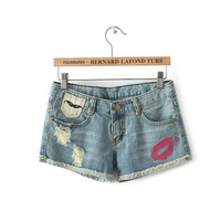 New 2014 Fashion Brand Sexy Faded Lip Print Jeans Shorts Women Distressed Denim Summer Casual Hot Girl Lady saias femininas