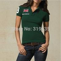 Horse Flag Logo In stock 2014 Summer Women Brand Cotton t shirt  Sport Polo t shirt for Women Wholesale/Retail 4 Colors