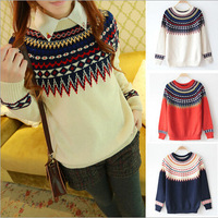WMD04 2014 New Pullover Women Autumn And Winter Style Prints Institute Loose Primer Shirt Round Neck Knit Sweater