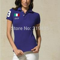 Free shipping 2014 New High Quality Women Polo Shirt Cotton tshirts Brand Short Sleeve t shirt  Wholesale/Retail 4 Colors