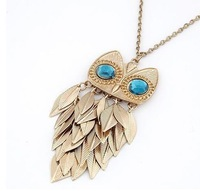 2014 new fashion Europe United States metal statement fashion owl tassel leaves sweater chain necklace necklaces & pendants