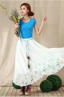 2014 New Ethnic Bohemian Print Chiffon Skirt High Waist Skirts Free Size 8961#V813  Free Shipping