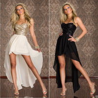 New 2014 Bandage Dress Black/Gold Sequined Strapless Vestidos Sexy Club Dress Bohemian Novelty Dresses Elegant Party Dresses