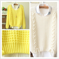 2014 Spring And Autumn Explosion Models Bow Tie Line Drawn Hollow Long-Sleeved Sweater Knit Pullover Sweater WMD07